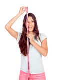 Happy girl with pink tape-measure Royalty Free Stock Images