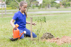 Happy Girl Planting Royalty Free Stock Photography