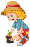 Happy girl planting the tree Stock Photography
