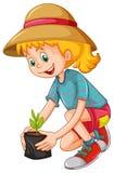 Happy girl planting the tree. Illustration stock illustration