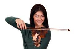 Happy girl play violin Stock Image