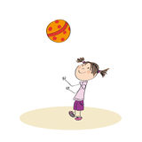 Happy girl playing with ball. Original hand drawn illustration of happy girl playing with ball Stock Photos