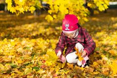 Happy girl playing with fallen leaves in autumn park stock images