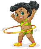 Happy girl playing Hula Hoop
