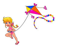 Happy girl is playing with kite. Cartoon vector isolated character Stock Image