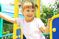 Happy Girl Playing On The Playground Royalty Free Stock Photo