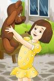Girl and teddy bear character cartoon style  illustration Stock Image