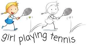 Happy girl playing tennis stock illustration