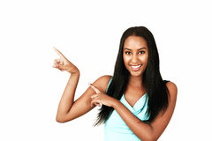 Happy girl pointing Stock Image