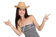 Happy girl pointing fingers in different directions Stock Photos