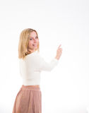 Happy girl pointing royalty free stock photography