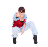 Happy girl pointing at you Royalty Free Stock Image