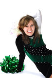 Happy Girl in a Pom Pon Uniform Stock Images