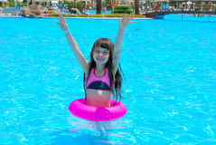 happy girl in pool Royalty Free Stock Photo