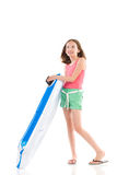 Happy girl with a pool raft Stock Images
