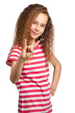 Happy girl. Portrait of happy girl making rock and roll sign isolated on white background Stock Image