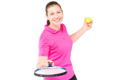 Happy girl portrait on a white background. With a tennis racket Royalty Free Stock Photography