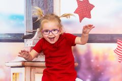 Happy girl in christmas scenery. Happy girl posing in christmas scenery stock photography