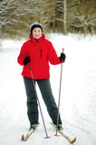 Happy girl posing on skis Royalty Free Stock Photography