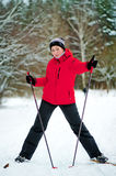 Happy girl posing on skis Royalty Free Stock Photo