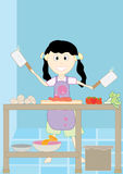 Happy Girl Precook_eps. Illustration of happy girl precook Royalty Free Stock Image