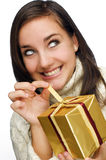 Happy girl with present Stock Photo