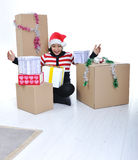 Happy girl with present boxes Stock Photography