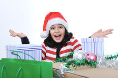 Happy girl with present boxes stock photos