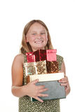 Happy girl with presents Royalty Free Stock Photos