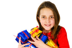 Happy girl with presents Stock Image