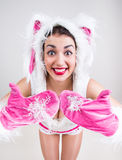 Happy girl in rabbit costume feel excited and show thumbs up Royalty Free Stock Photography