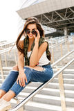 Happy girl on railing Royalty Free Stock Photo