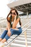 Happy girl on railing Royalty Free Stock Photo