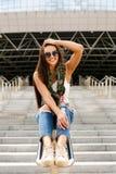 Happy girl on railing Royalty Free Stock Photos