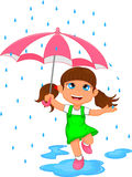 Happy girl in rain with umbrella Royalty Free Stock Images