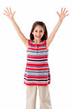 Happy girl with raised hands Royalty Free Stock Photography