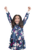 Happy Girl Raising Her Arms Royalty Free Stock Photography