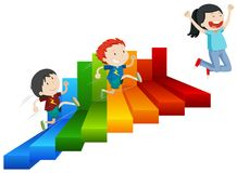 A Happy Girl Reach on Top of Steps. Illustration royalty free illustration