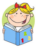 Happy girl reading a book Stock Image