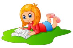 Happy girl reading book Royalty Free Stock Photography