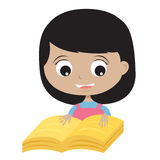 Happy Girl Reading A Book. Royalty Free Stock Images