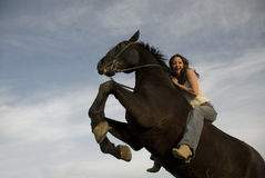 Happy girl and rearing stallion Stock Image