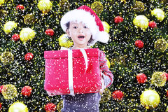Happy girl receive christmas gift under tree Royalty Free Stock Image