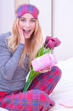 Happy girl receive gifts Royalty Free Stock Images