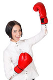 Happy girl with red boxer gloves Royalty Free Stock Photo