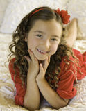 Happy Girl With Red Dress, Christmas stock photography