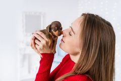 Happy girl in red dress kissing her new puppy of dachshund and holding him in her arms. Closeup portrait stock photography