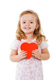 Happy girl with red heart Royalty Free Stock Image