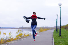 Happy girl in red scarf outdoor Stock Photography