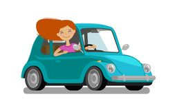 Happy girl rides car. Driving, trip, travel concept. Cartoon vector illustration. Isolated on white background royalty free illustration